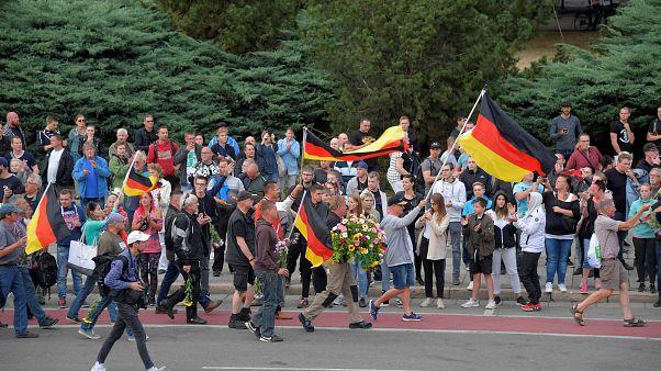 Partidarios de la extrderecha protestan contra los extranjeros en Chemnitz.