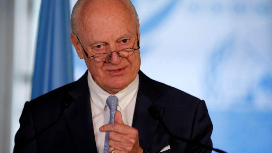 ستافان دي ميستورا مبعوث الأمم المتحدة الخاص لسوريا يتحدث خلال مؤتمر صحفي