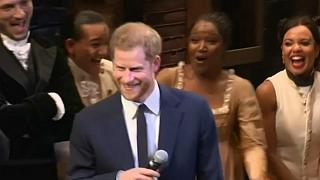 Watch: Prince Harry warms up vocal chords at Hamilton musical show