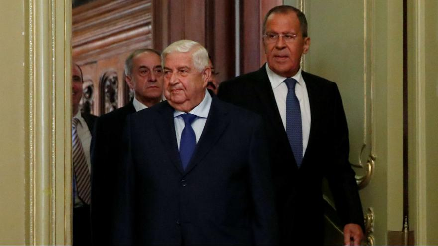 Syrian Foreign Minister al-Moualem and Russian Foreign Minister Lavrov