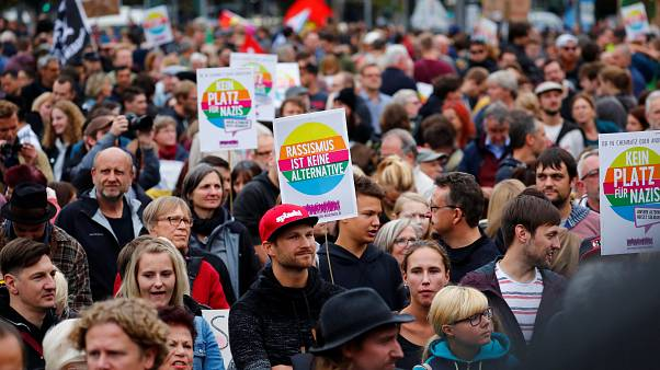 People protest against an AfD demonstration in Chemnitz on Sept. 1, 2018.