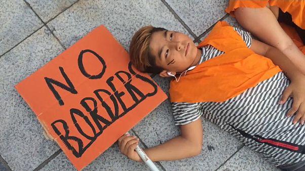 Demonstration für ein offenes Europa in Athen
