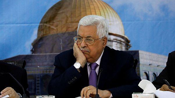 الرئيس الفلسطيني محمود عباس خلال اجتماع في رام الله يوم 15 أغسطس آب 2018.