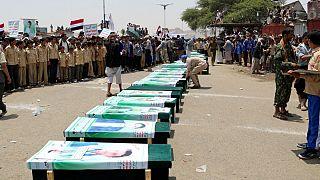 Saudi-led coalition air strike on a bus in northern Yemen