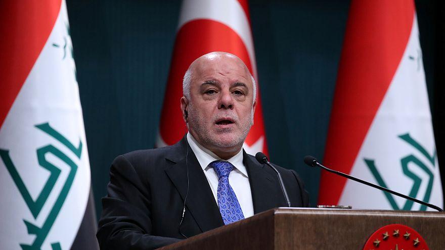 رئيس الوزراء العراقي حيدر العبادي في مؤتمر صحفي بأنقرة يوم 14 أغسطس/ آب