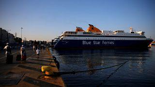 24-hour strike of Greek seamen at the port of Piraeus