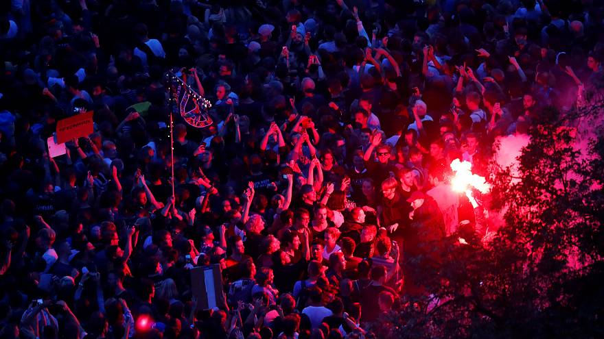 """People attend an open air """"anti-racism concert"""" in Chemnitz, Germany"""