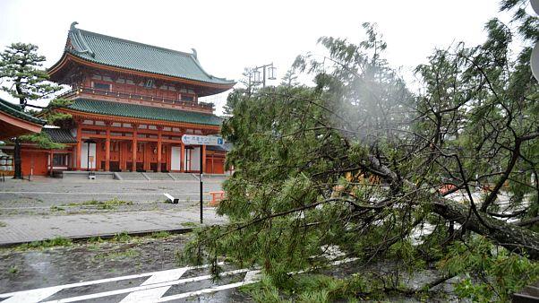 Depois de ter atingido Shikoku, o tufão está agora a percorrer Honshu