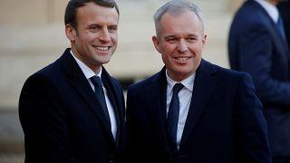 Macron yeni Çevre Bakanı François de Rugy ile birlikte.
