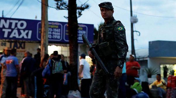 Solider patrols Brazil's border with Venezuela