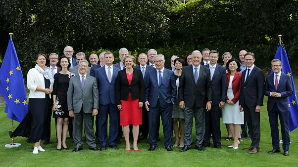 Jean-Claude Juncker poses with members of the EU's executive