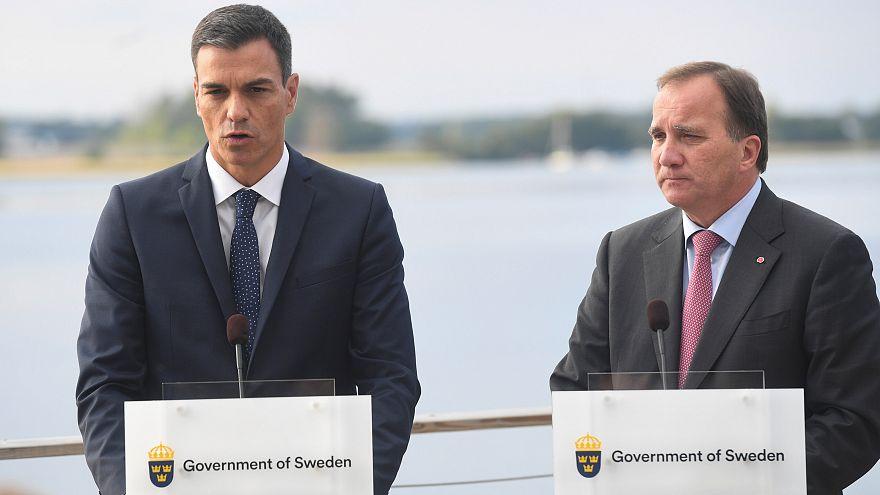 Pedro Sánchez arropa al socialdemócrata Lofven a cuatro días de las elecciones suecas