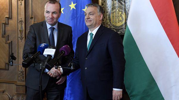 Orbán Viktor és Manfred Weber a magyar Országházban 2018. március 20-án.