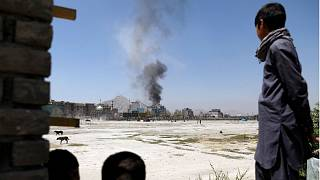 Smoke rises from the site of an attack in Kabul, Afghanistan August 2018.