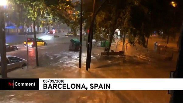 На Барселону обрушился ливень