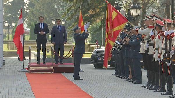 Österreichs Bundeskanzler Sebastian Kurz zu Besuch in Mazedonien