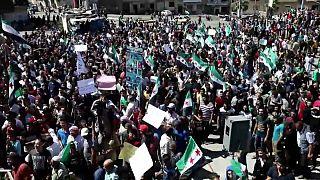 تظاهرکنندگان در شهر ادلب نشست سه جانبه تهران را محکوم کردند
