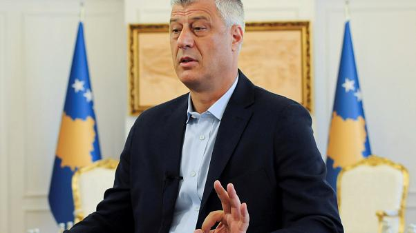 Kosovo President Hashim Thaci speaks during interview in Pristina, Kosovo