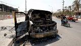 سيارة إسعاف محترقة في البصرة / أرشيف