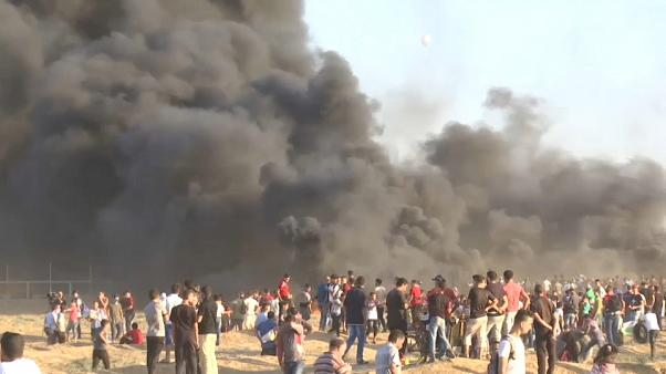 Demonstráció a Gázai övezet határán