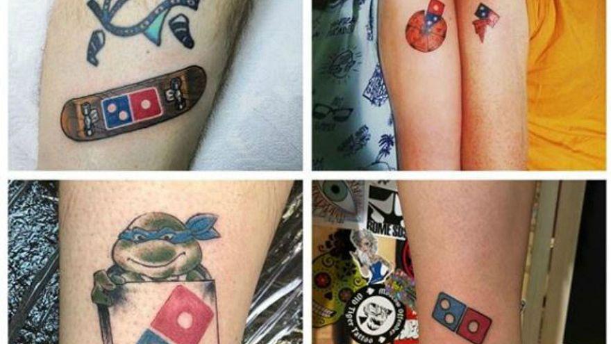 Bedava pizza için Dominos's Pizza logosunu dövme yaptırdılar