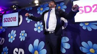 Sweden Democrats leader Jimmie Akesson as he waits for election results