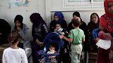 Familias de refugiados em Lesbos, Grécia