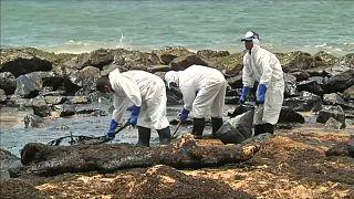 Cientos de personas intentan limpiar la costa de Sri Lanka