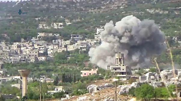 بمباران شهر بدامه در استان ادلب سوریه، ۲۷ سپتامبر ۲۰۱۷