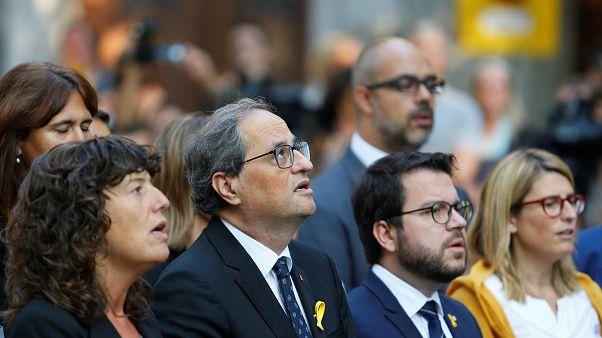 Katalanların lideri  Quim Torra ve kabinesi Bağımsızlık Günü törenlerinde