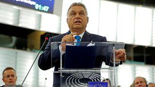 Strasbourg'da konuşan Macaristan Başbakanı Viktor Orban