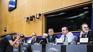 Orbán VIktor és Manfred Weber az EPP keddi frakcióülésén