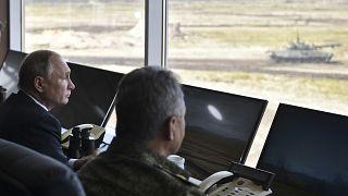 Russian President Vladimir Putin watches Vostok-2018 military drills.