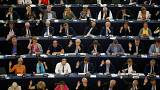 Members of the European Parliament vote on a copyright law in Strasbourg