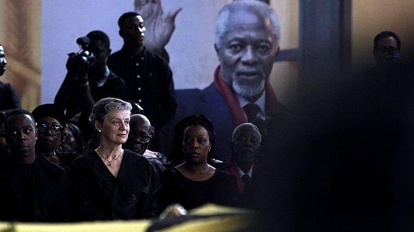 زوجة كوفي عنان أثناء مراسم تأبين الأمين العام السابق للأمم المتحدة