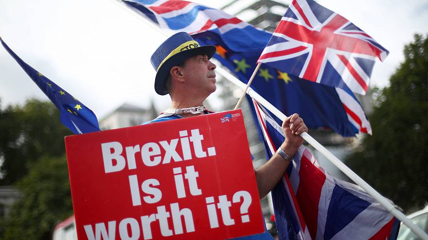 An anti-Brexit demonstrator waves flags outside the Houses of Parliament