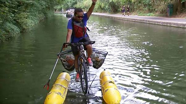 Meet the man who built a floatable bike to clean up London's canals
