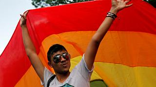 A man takes part in Gay Fest 2014 pride parade in Bucharest, Romania.