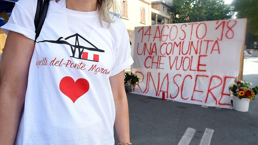 Homenaje a las víctimas del derrumbe del Puente Morandi