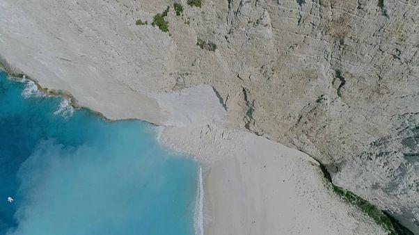 Traumstrand auf Zykanthos nach Felsenabgang gesperrt