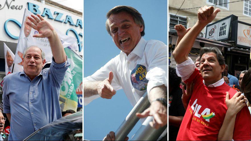 Bolsonaro (centro) destacado nas sondagens, com Ciro e Haddad à espreita
