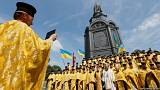 Clergymen from the Ukrainian Orthodox Church of the Kyiv Patriarchate take
