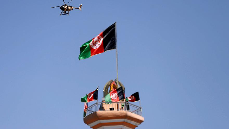 Kabil'de bir askeri helikopter