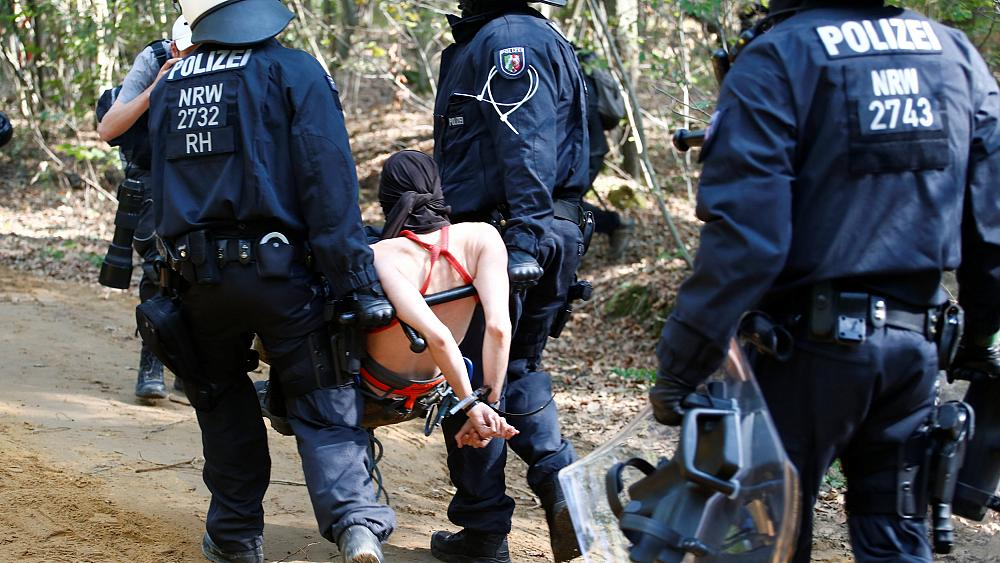 German police remain at Hambach Forest over the weekend