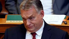 Hungarian Prime Minister Viktor Orban in parliament, Hungary on Sept. 17.