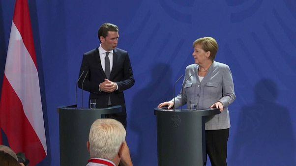 il cancelliere austriaco Kurz con Angela Merkel
