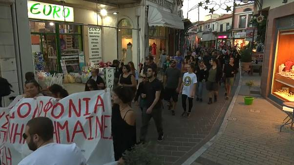 Greek migrant crisis: Antifascist rally takes place on the island of Lesvos