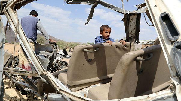 Saudi-led airstrike- displaced children