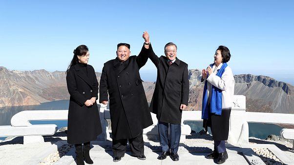 Moon Jae-in & Kim Jong-un lors d'une visite officielle en Corée du Nord