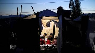 A makeshift camp next to the Moria camp for refugees and migrants in Lesbos